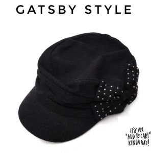 🐞🐞Black bow stud wool gatsby hat